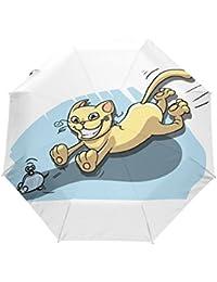 KASAMO猫柄折りたたみ傘 子供 キャラクター ワンタッチ自動開閉 耐強風 折りたたみ傘 レディース 晴雨兼用 軽量 紫外線傘 UVカット