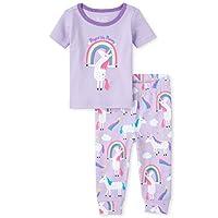 The Children's Place Girls' Short Sleeve Pajama Pant Set