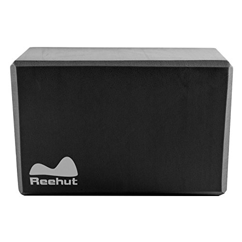 Reehut ヨガブロック(1個)、23cm x 15cm x 10cm ― 高密度 EVA 発泡体 ブロック、ポーズ補助や改善、体力増強、バランス補助や柔軟性向上に最適 - 軽量、耐臭性&防湿性(ブラック)