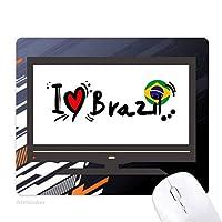 私はブラジル語フラグラブ・ハートのイラストが好きです ノンスリップラバーマウスパッドはコンピュータゲームのオフィス