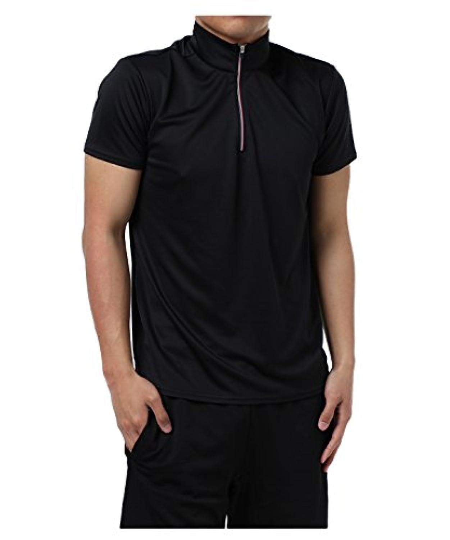 ビジョンクエスト メンズ ポロシャツ 半袖 ハーフジップ機能Tシャツ VQ441205H01 BK L
