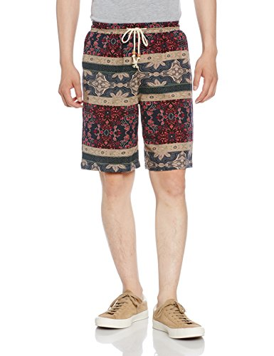 (アルファーフープ) α-HOOP メンズファッション 夏 服 5 分 丈 ハーフパンツ 花 柄 オラオラ お兄 系 短パン 部屋着 M ~ XXL 大きいサイズ TAN-1