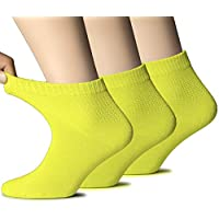 Hugh Ugoli Women's Diabetic Ankle Socks Bamboo Thicker Soft Comfy Seamless Toe and Non-Binding Top, 3 Pairs