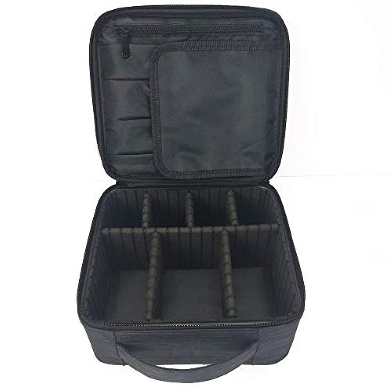 宿泊施設広い符号化粧オーガナイザーバッグ 調整可能な仕切り付き防水メイクアップバッグ旅行化粧ケースブラシホルダー 化粧品ケース