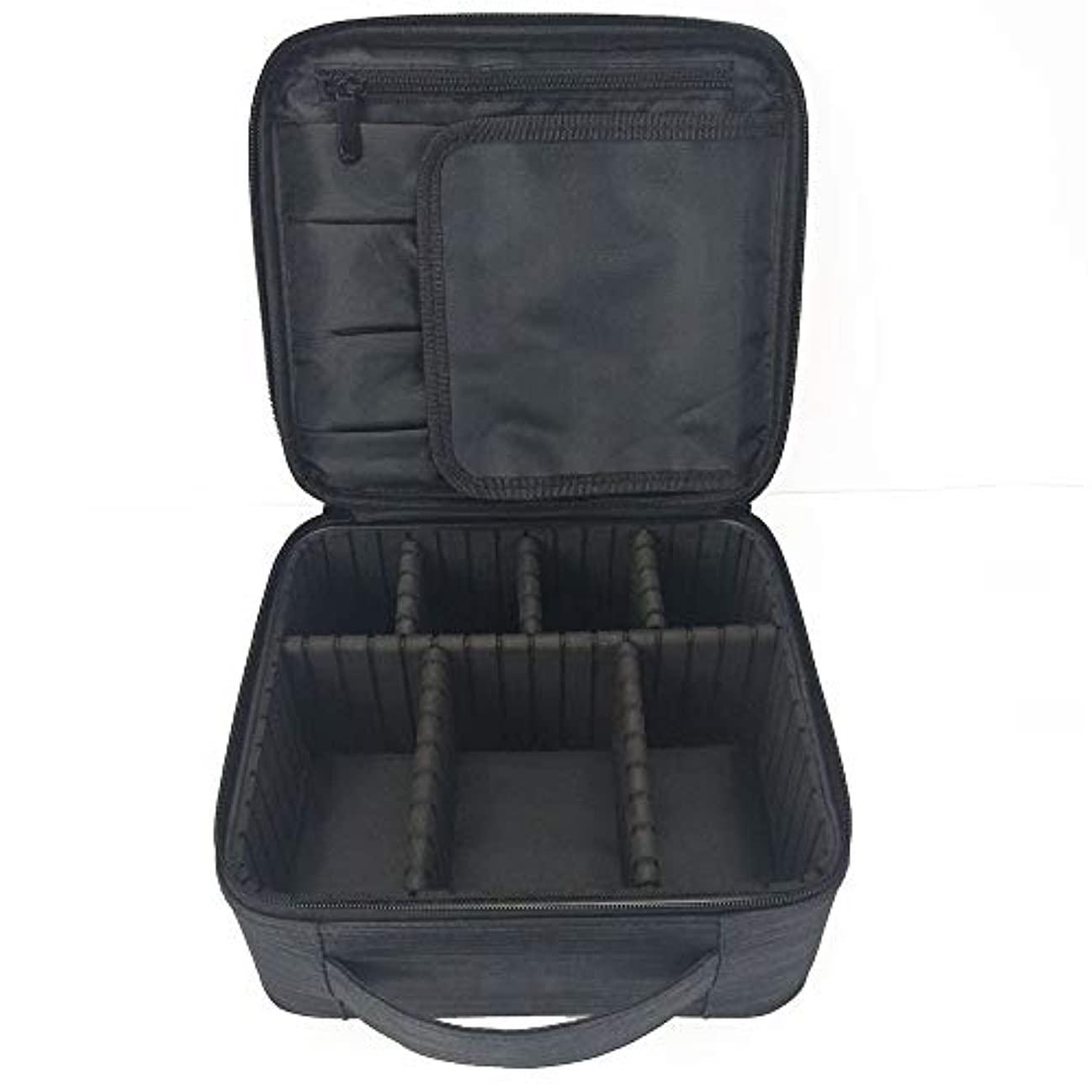 周り悪のジョブ化粧オーガナイザーバッグ 調整可能な仕切り付き防水メイクアップバッグ旅行化粧ケースブラシホルダー 化粧品ケース