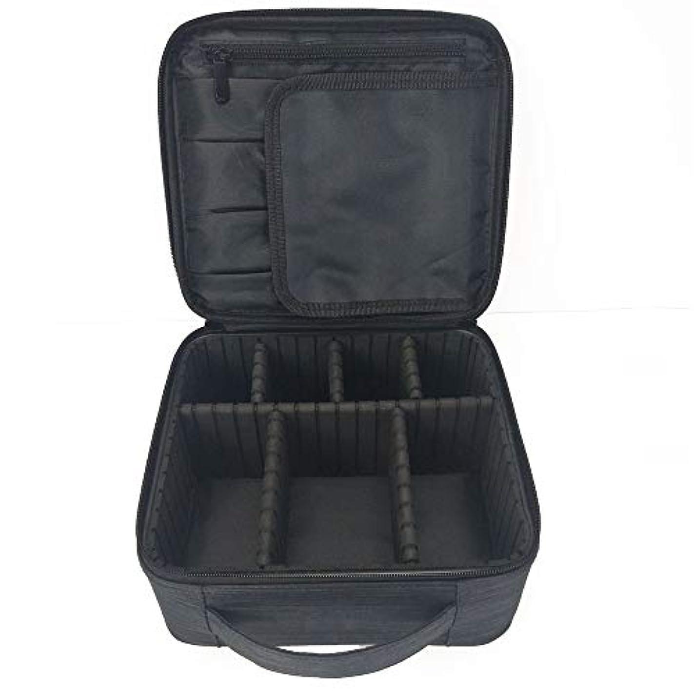 破壊する結紮接続された化粧オーガナイザーバッグ 調整可能な仕切り付き防水メイクアップバッグ旅行化粧ケースブラシホルダー 化粧品ケース