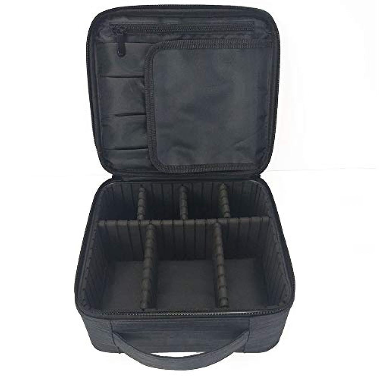 化粧オーガナイザーバッグ 調整可能な仕切り付き防水メイクアップバッグ旅行化粧ケースブラシホルダー 化粧品ケース
