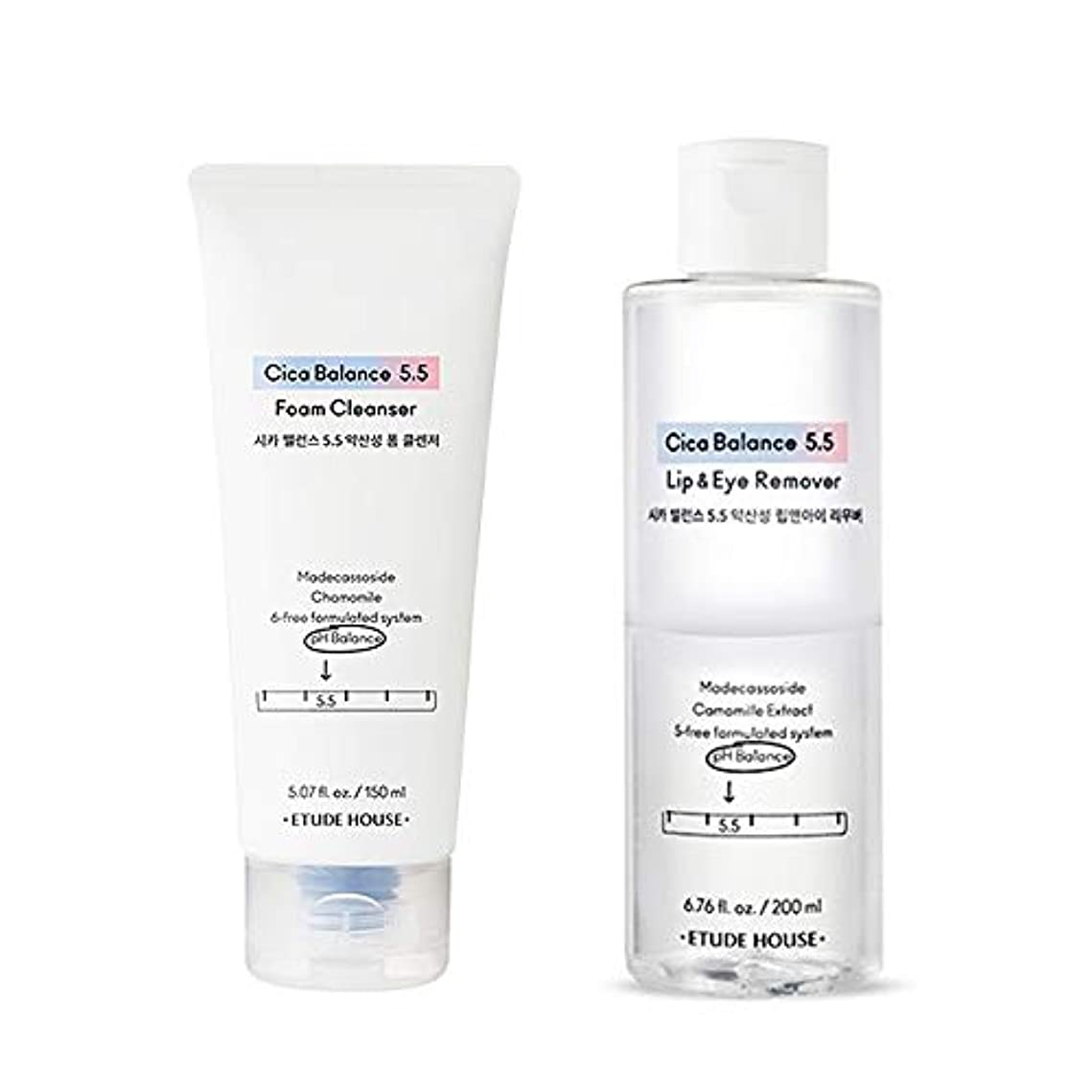 クライマックス憂鬱なオン[Etude] エチュードハウス Cica Balance 5.5 Makeup Remover & Gel Cleanser Set シカバランス 5.5 メイク落としリムーバー200ml&クレンジングジェル150ml...