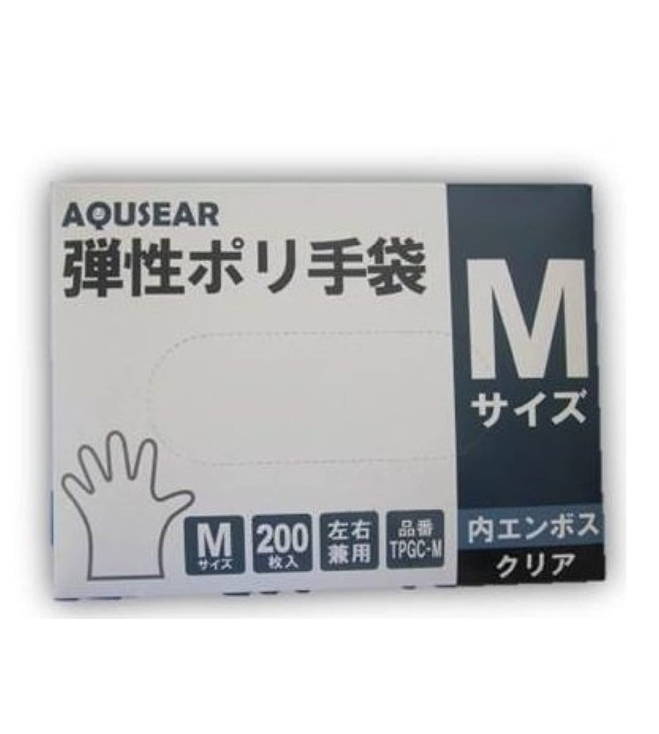 微視的スロープ媒染剤AQUSEAR 弾性ポリ手袋 内エンボス クリア Mサイズ TPGC-M 200枚箱入