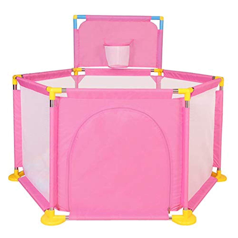 ベビーサークル, ポータブルベビープレイペンプレイヤード屋内ゲームフェンス屋外プレイフェンスベビー幼児クロールベイビープレイ、ピンク