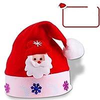 HuaQingPiJu-JP クリスマス用品漫画スタイルのサンタクロースパターンハット_レッド+ホワイト