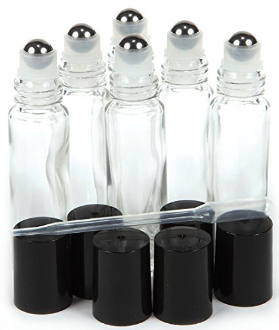 君主発疹慣らす6, Clear, 10 ml Glass Roll-on Bottles with Stainless Steel Roller Balls - .5 ml Dropper included [並行輸入品]