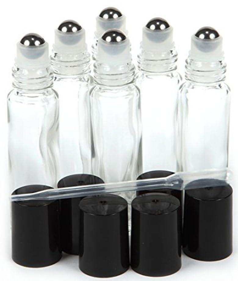 先にチート北6, Clear, 10 ml Glass Roll-on Bottles with Stainless Steel Roller Balls - .5 ml Dropper included [並行輸入品]