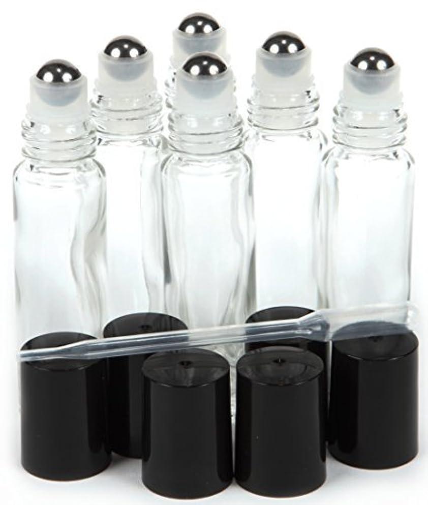 モーテル甘味敬意6, Clear, 10 ml Glass Roll-on Bottles with Stainless Steel Roller Balls - .5 ml Dropper included [並行輸入品]