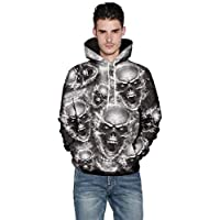 Oversized 3XL 4XL 5XL Hoodie Mens Black Zip 3D Skull Full Longline Pullover Top Hoody Up 2XL Goth Personalised Cool Warm Man (Color : Grey, Size : XXXXXL UK 20-22)