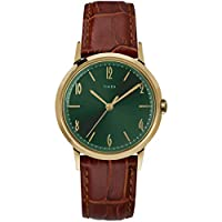 Timex 34 mm Marlin Handwind Gold-Tone SST Case Green Dial Brown Strap