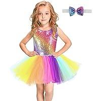 ドレス ガールズドレスダンスコスチュームレインボースパンコールメッシュカラフルなペティスカートスーツ子供ドレス コンサートの結婚式などに適しています (サイズ : 6T(115-135cm))