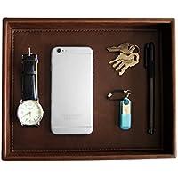 PU Leather Desktop Storage Organizer, Catchall Tray, Valet Tray, Nightstand or Dresser Organizer, Brown, 10.2 x 8.4 x 1.8 inches
