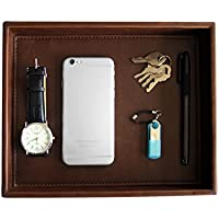 (Brown1 Tray) - PU Leather Desktop Organiser, Storage Organiser, Catchall Tray, Brown, 10.2 x 21cm x 4.6cm