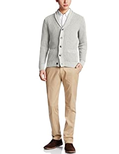 5-gauge Cotton Shawl Collar Cardigan 3228-130-0183: Mid Grey