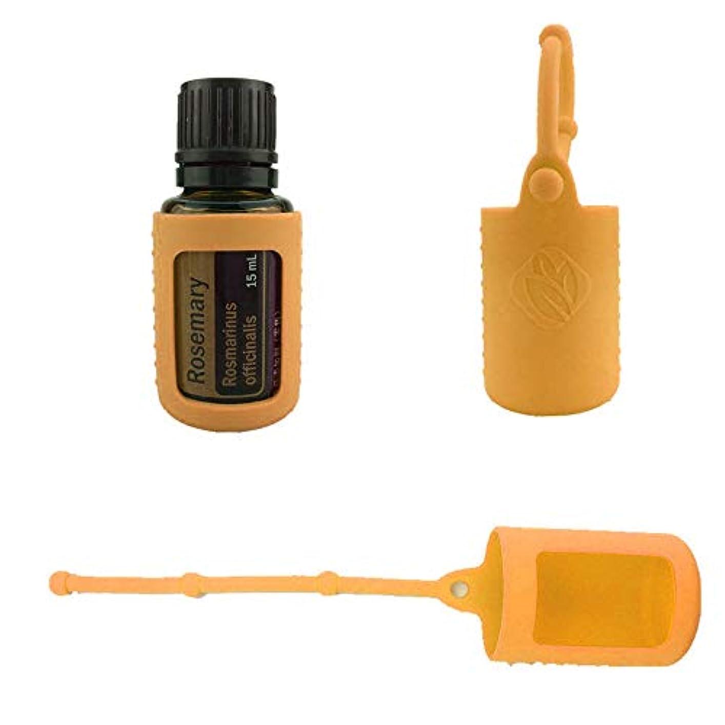 日食設置どこにも6パック熱望オイルボトルシリコンローラーボトルホルダースリーブエッセンシャルオイルボトル保護カバーケースハングロープ - オレンジ - 6-pcs 15ml