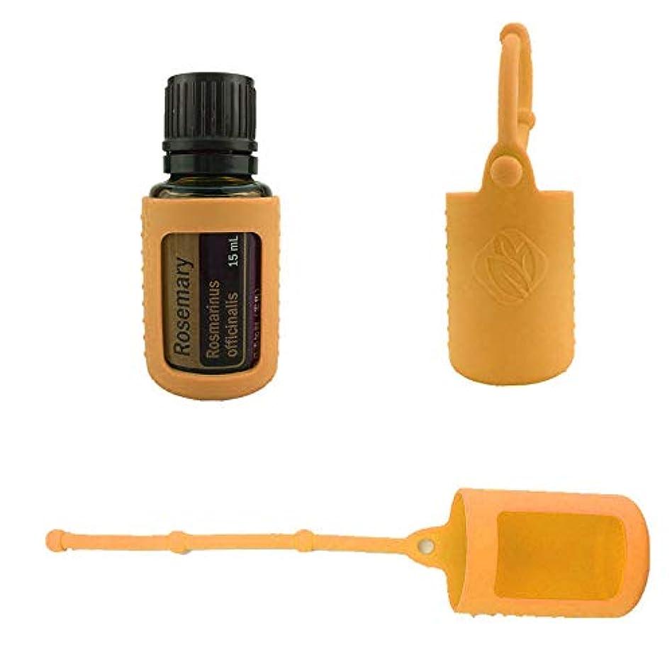 平方軽蔑懲らしめ6パック熱望オイルボトルシリコンローラーボトルホルダースリーブエッセンシャルオイルボトル保護カバーケースハングロープ - オレンジ - 6-pcs 10ml