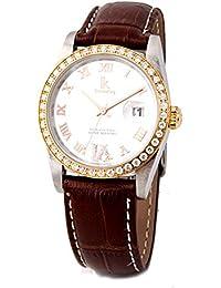 GuTe出品 腕時計 ホワイト ゴールド クオーツ IK Colouring レディース 革バンド 日付 ダイヤモンド