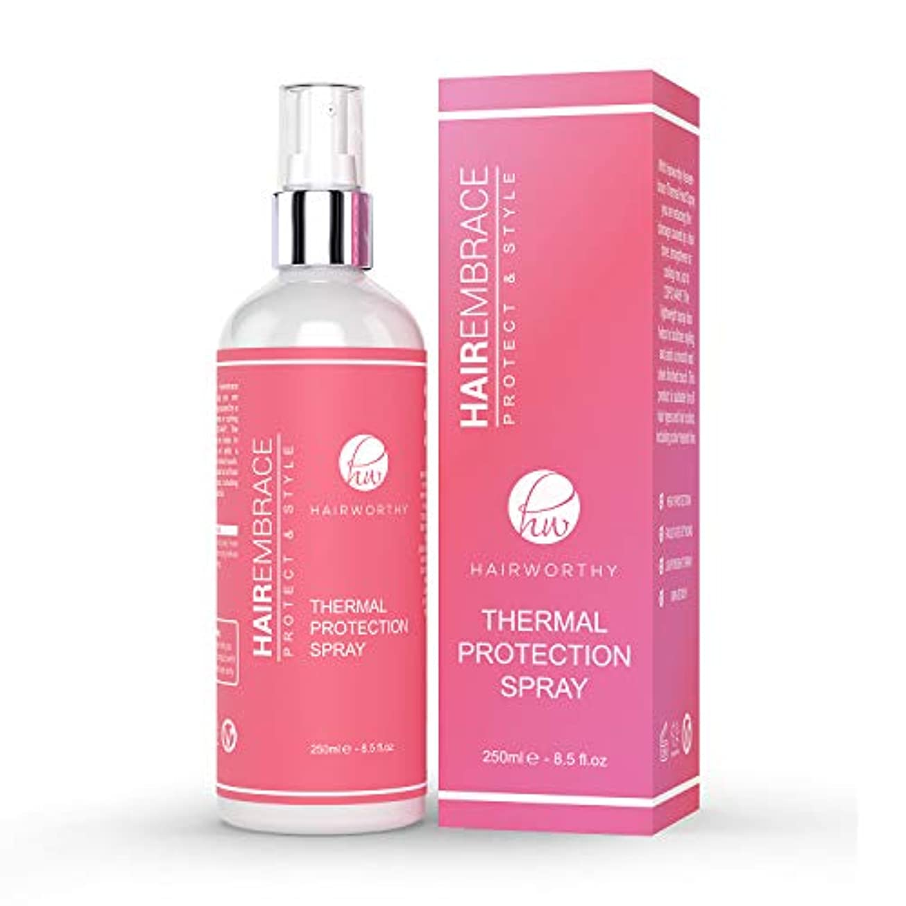 王室グッゲンハイム美術館山岳Hairworthy Hairembrace Heat Protection Spray 熱のスタイリングのための熱保護スプレー。あなたの髪、アンチ縮れ、プロテクト & スタイルに輝きを復元します。
