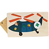 幼児期のゲーム 創造的な木製の3D教育パズルアーリーラーニング番号の形の色の動物のおもちゃキッズ(ヘリコプター)のための素晴らしいギフト