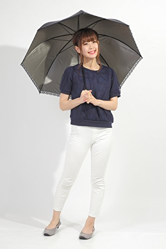 晴雨兼用 日傘 Lサイズ UVカット 紫外線遮蔽率99% 生地裏カラーコーティング エンボス加工の控えめな水玉総柄 レース付 可愛いドーム型(深張仕様) 60cm 手開き傘(ダークグレー)