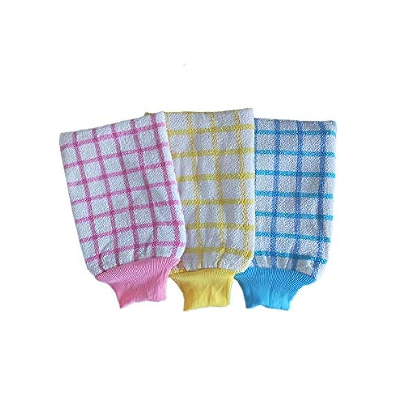 祖父母を訪問乏しい氏KUKUYA(ククヤ) 垢すり 手袋型 韓国式 リバーシブル ミトン ボディタオル お風呂 ボディースポンジ 3双セット コクーン ランダム出荷