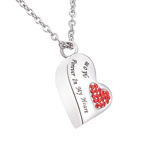 HooAMI 手元供養 メモリアルペンダント 防水中空 ハート ネックレス ステンレス 遺骨ペンダント Forever In My Heart Mom レッド 2.4*1.0*0.4cm