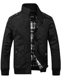 maweisong メンズファッションソリッドスタンドカラーロングスリーブスリムフィットボンバージャケット