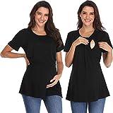 Giorzio Women's Short Sleeve Maternity Nursing Tee Shirt Crew Neck Flattering Sides Double Layer Breastfeeding Top,Black S