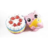 2パックof CutestジャンボケーキジャンボサイズCutest Kitty Slow RisingふわふわSquishy Toy