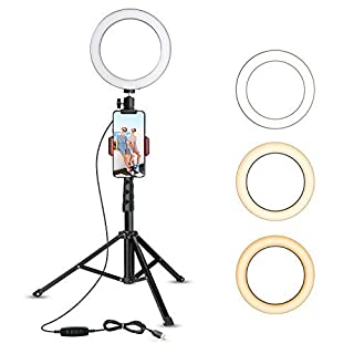 "8"" Selfie Ring Light with Tripod Stand & Cell Phone Holder for Live Stream/Makeup, UBeesize Mini Led Camera Ringlight for YouTube Video/Photography Compatible with iPhone 8 7 6 Plus X 6s SE Android (B07GDC39Y2) 