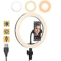 Gemwon LEDリングライト 調光機能付き 美しいプラスチック ソフトUSB 調節可能 3ライト 色10インチ 温度3000K-5000K 電話スタンド付き ストリーミング/メイクアップ/YouTube/ビデオ撮影/自撮り/写真撮影用