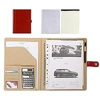 A4ジップ会議フォルダー、ビジネス出張用の計算機付きビジネスレザードキュメントケースバッグポートフォリオ,赤