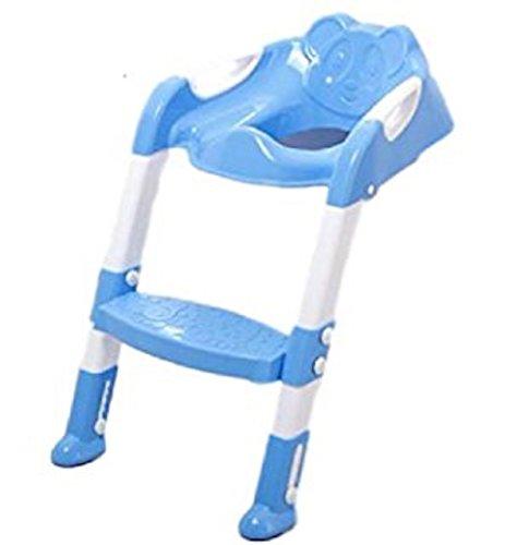 補助便座 ステップ式 パンダさんトイレ トレーニング 折りたたみ おまる 踏み台 子供用 男の子 女の子 (ブルー)