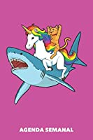 Agenda Semanal: Gato Montar Unicornio Montar Tiburón A5 manuscrito floral - Cuaderno con Planificador Semanal 52 Semanas para amantes del unicornio (rosa)