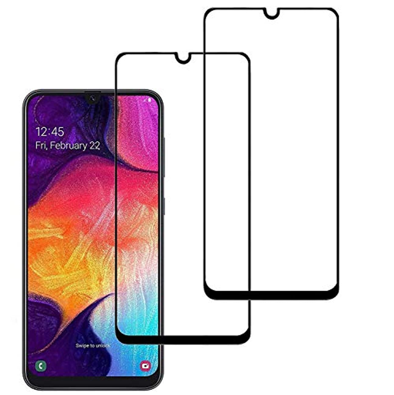 横向きカイウスたっぷり【2020年最新バージョン】 Galaxy A30 ガラスフイルム Galaxy A30フイルム【日本製素材旭硝子製】【2枚セット】2.5Dラウンドエッジ加工/最大硬度9H/高透過率/3D Touch対応/自動吸着/指紋防止/気泡ゼロ/貼り付け簡単 Galaxy A30 強化ガラス (2.5D光沢タイプ)(Galaxy A30-黒/ブラック)