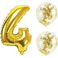 Big Hashiお誕生日パーティー 風船 飾り付け バルーンx2個 ゴールド 数字4バルーン x1個 風船セット(sz-04)