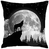 満月の狼の遠lingえ枕カバークッションカバー18x18枕カバー