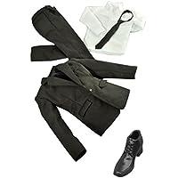 Fenteer 人形用 12インチ アクションフィギュア ブラック ジャケット ズボン スーツ