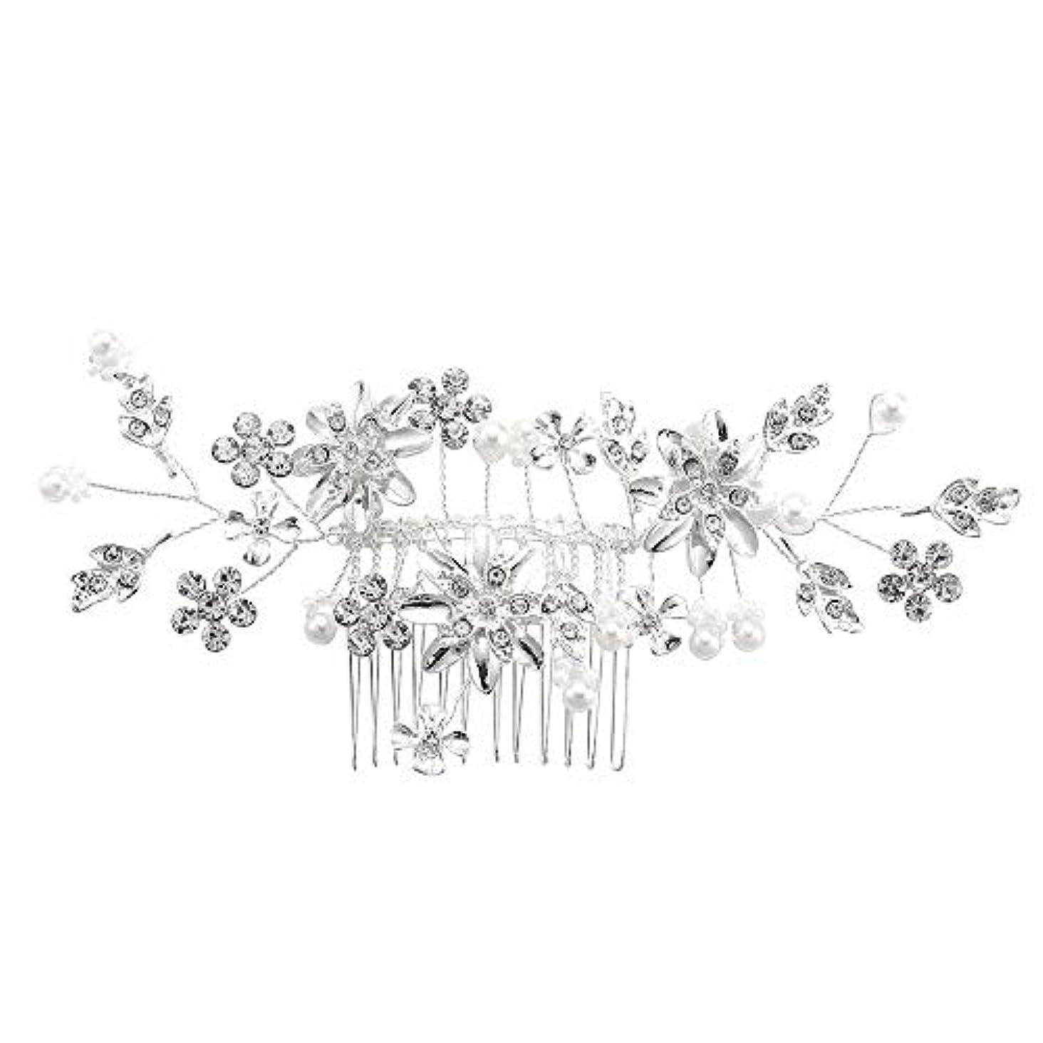 側溝食事を調理するジャニス髪の櫛、櫛、合金、ラインストーンの櫛、真珠の髪の櫛、ブライダル髪の櫛、結婚式の髪の櫛