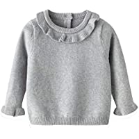 2020 Spring and Autumn Girls Sweater White Cotton Side Round Neck Knitted Bottoming Shirt Baby Toddler Long Sleeve top,Gray,66cm