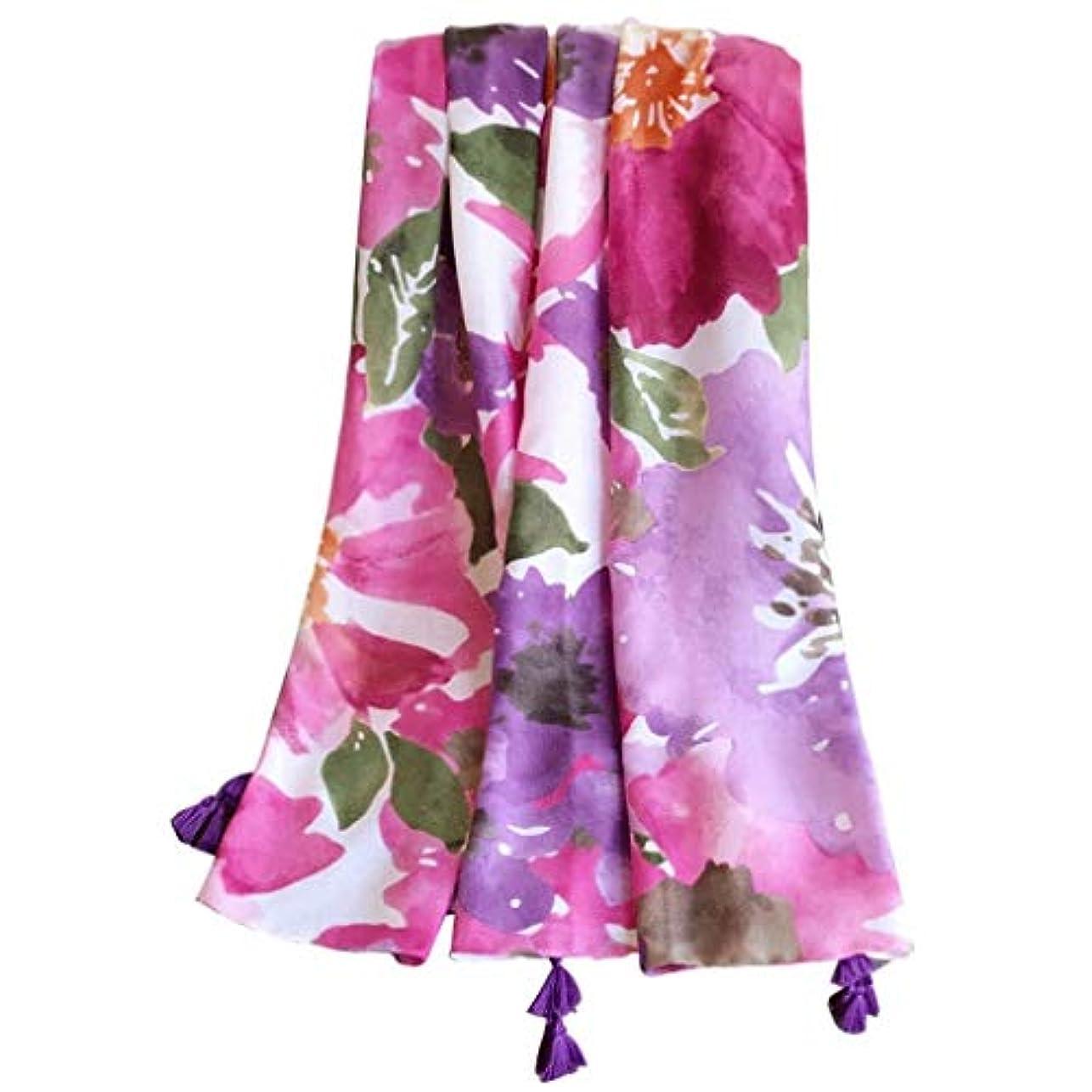 ピックウィザード敬なKTYX 夏の旅行用エアコン綿とリネンのスカーフパープルパウダー印刷スーパー大きなビーチタオルスカーフ スカーフ