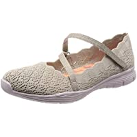 Skechers Women's Seager-Strike Out-Scalloped Engineered Knit Mary Jane Flat