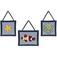 Three PieceブルーグリーンレッドイエローOcean Baby Plush壁アートセット、海軍Nursery魚テーマHanging Decor、幼児Sea Life動物ヒトデOctopus Kidsかわいい愛らしい子供用ホームアクセント、コットン