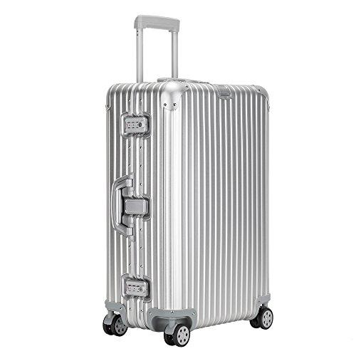 クロース(Kroeus) スーツケース アルミ・マグネシウム合金 TSAロック 大型8輪キャスター 無段階キャリーバー キャリーケース 大容量 人気 旅 出張 シルバー